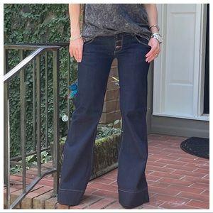 BEST FITTING Wide leg side pocket dark denim jeans